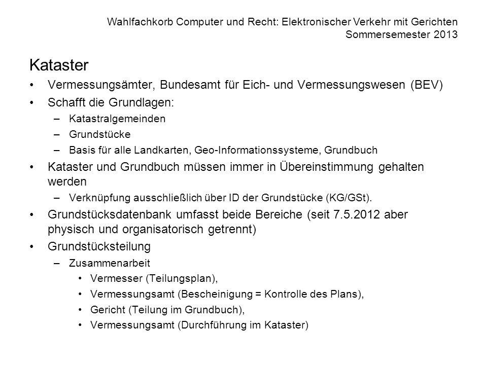 Wahlfachkorb Computer und Recht: Elektronischer Verkehr mit Gerichten Sommersemester 2013 Kataster Vermessungsämter, Bundesamt für Eich- und Vermessun