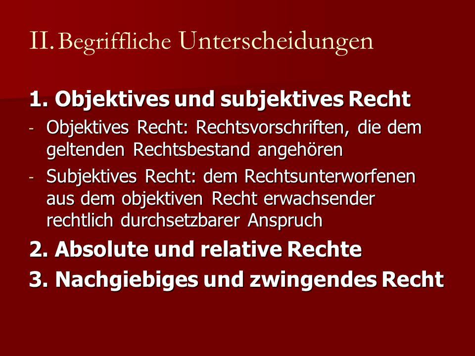 1. Objektives und subjektives Recht - Objektives Recht: Rechtsvorschriften, die dem geltenden Rechtsbestand angehören - Subjektives Recht: dem Rechtsu