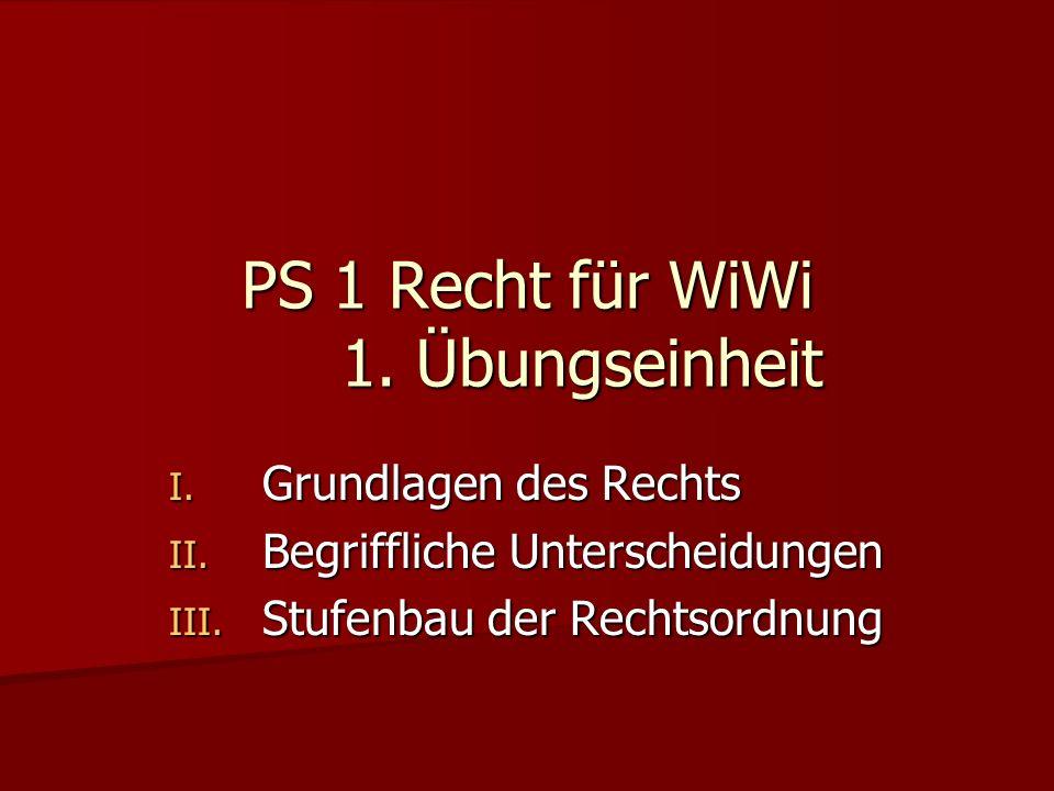 PS 1 Recht für WiWi 1. Übungseinheit I. Grundlagen des Rechts II. Begriffliche Unterscheidungen III. Stufenbau der Rechtsordnung