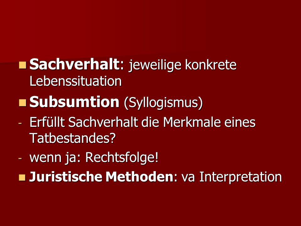 Sachverhalt: jeweilige konkrete Lebenssituation Sachverhalt: jeweilige konkrete Lebenssituation Subsumtion (Syllogismus) Subsumtion (Syllogismus) - Er