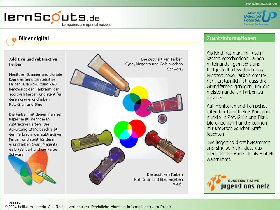 Bilder digital Als Kind hat man im Tusch- kasten verschiedene Farben miteinander gemischt und festgestellt, dass durch das Mischen neue Farben entste- hen.