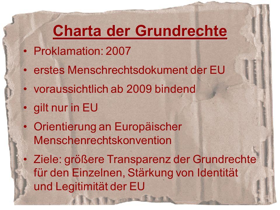 Charta der Grundrechte Proklamation: 2007 erstes Menschrechtsdokument der EU voraussichtlich ab 2009 bindend gilt nur in EU Orientierung an Europäischer Menschenrechtskonvention Ziele: größere Transparenz der Grundrechte für den Einzelnen, Stärkung von Identität und Legitimität der EU