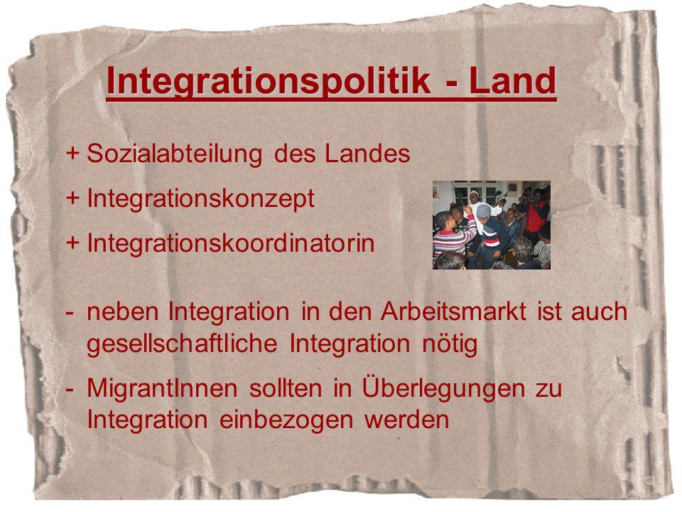 +Sozialabteilung des Landes +Integrationskonzept +Integrationskoordinatorin -neben Integration in den Arbeitsmarkt ist auch gesellschaftliche Integration nötig -MigrantInnen sollten in Überlegungen zu Integration einbezogen werden Integrationspolitik - Land