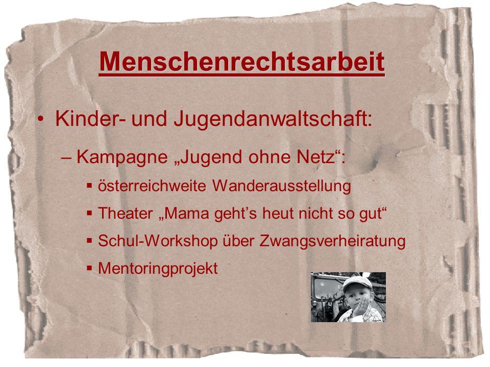 Menschenrechtsarbeit Kinder- und Jugendanwaltschaft: –Kampagne Jugend ohne Netz: österreichweite Wanderausstellung Theater Mama gehts heut nicht so gut Schul-Workshop über Zwangsverheiratung Mentoringprojekt