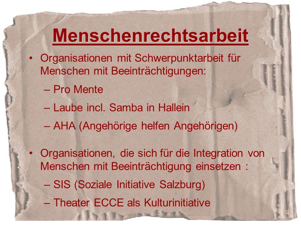 Menschenrechtsarbeit Organisationen mit Schwerpunktarbeit für Menschen mit Beeinträchtigungen: –Pro Mente –Laube incl.