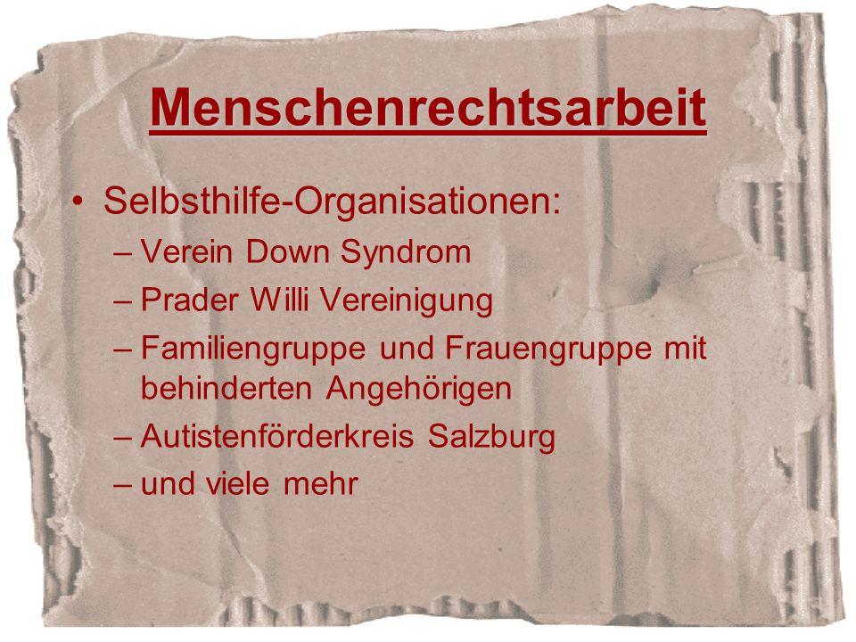 Menschenrechtsarbeit Selbsthilfe-Organisationen: –Verein Down Syndrom –Prader Willi Vereinigung –Familiengruppe und Frauengruppe mit behinderten Angehörigen –Autistenförderkreis Salzburg –und viele mehr