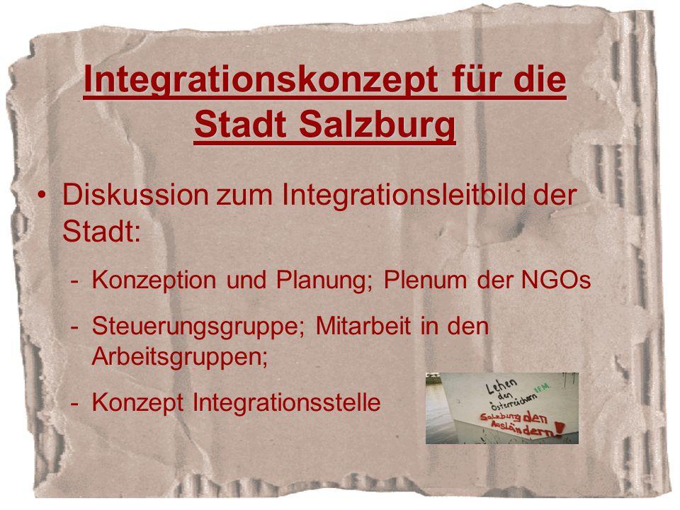 Integrationskonzept für die Stadt Salzburg Diskussion zum Integrationsleitbild der Stadt: -Konzeption und Planung; Plenum der NGOs -Steuerungsgruppe; Mitarbeit in den Arbeitsgruppen; -Konzept Integrationsstelle