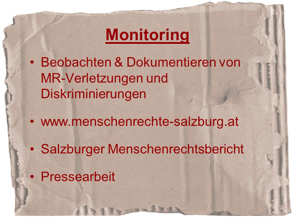 Monitoring Beobachten & Dokumentieren von MR-Verletzungen und Diskriminierungen www.menschenrechte-salzburg.at Salzburger Menschenrechtsbericht Pressearbeit