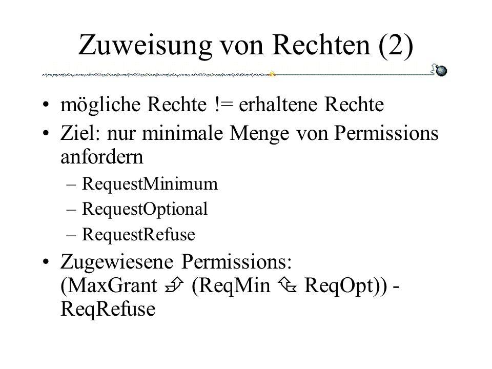 Zuweisung von Rechten (2) mögliche Rechte != erhaltene Rechte Ziel: nur minimale Menge von Permissions anfordern –RequestMinimum –RequestOptional –RequestRefuse Zugewiesene Permissions: (MaxGrant (ReqMin ReqOpt)) - ReqRefuse