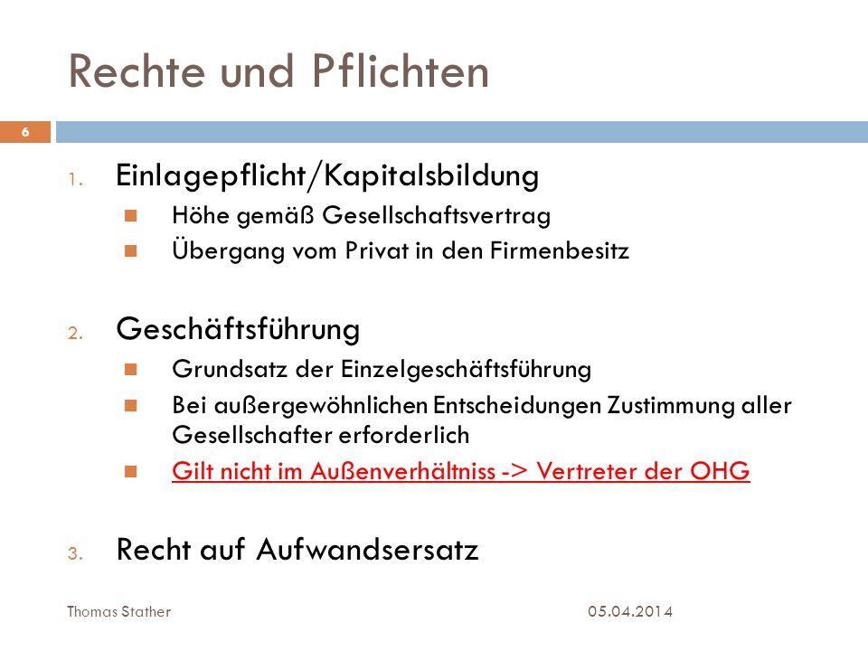 Rechte und Pflichten 05.04.2014 7 4.Kontrollrecht 5.
