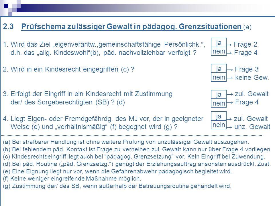 2.3 Prüfschema zulässiger Gewalt in pädagog.Grenzsituationen (a) 1.
