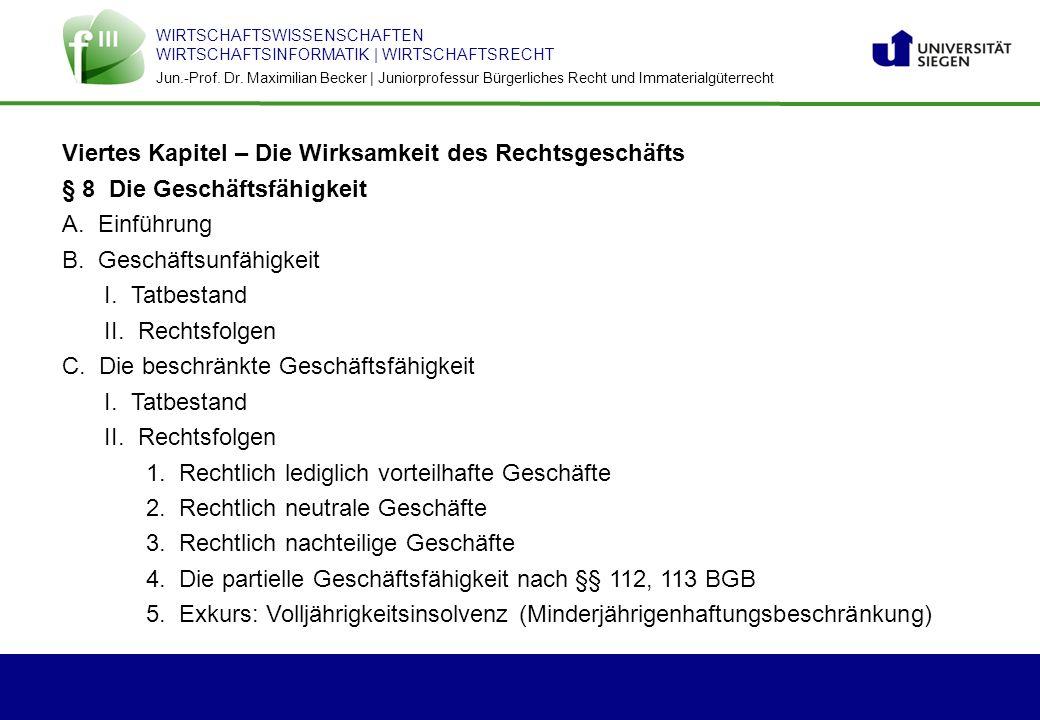 WIRTSCHAFTSWISSENSCHAFTEN WIRTSCHAFTSINFORMATIK | WIRTSCHAFTSRECHT Jun.-Prof. Dr. Maximilian Becker | Juniorprofessur Bürgerliches Recht und Immateria
