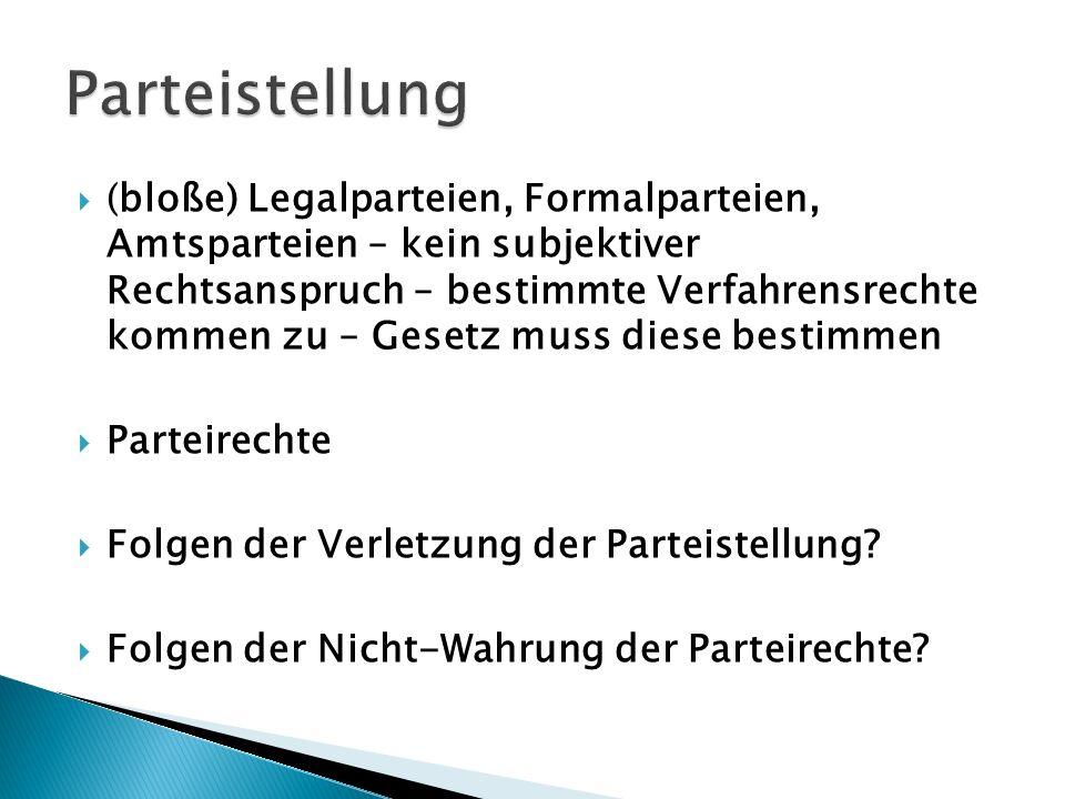 (bloße) Legalparteien, Formalparteien, Amtsparteien – kein subjektiver Rechtsanspruch – bestimmte Verfahrensrechte kommen zu – Gesetz muss diese besti