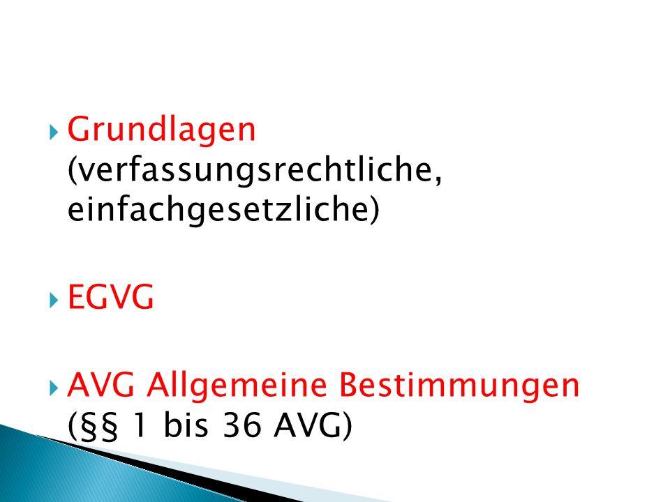 Grundlagen (verfassungsrechtliche, einfachgesetzliche) EGVG AVG Allgemeine Bestimmungen (§§ 1 bis 36 AVG)
