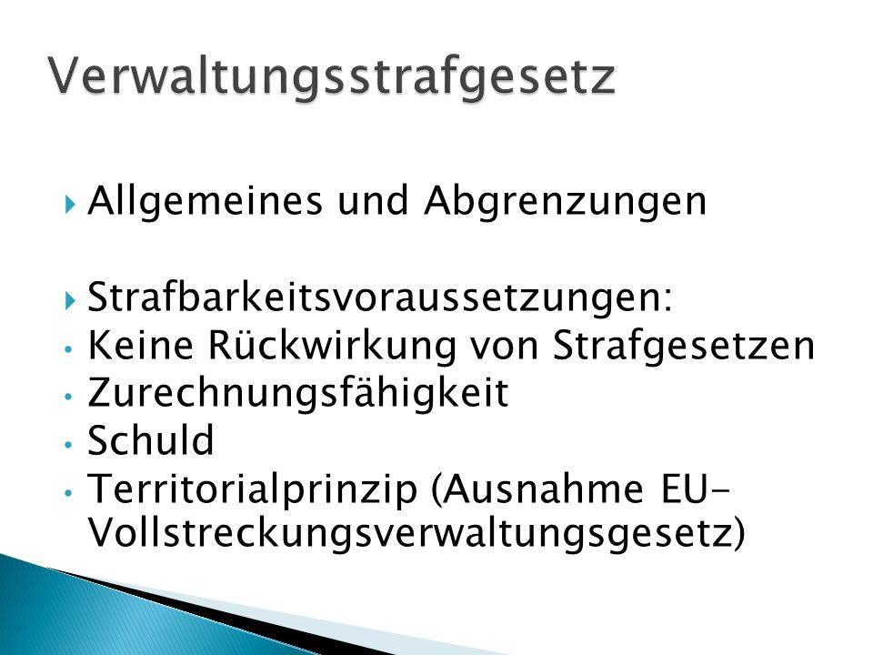 Allgemeines und Abgrenzungen Strafbarkeitsvoraussetzungen: Keine Rückwirkung von Strafgesetzen Zurechnungsfähigkeit Schuld Territorialprinzip (Ausnahm