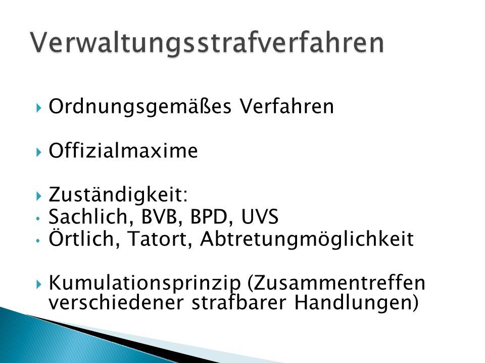 Ordnungsgemäßes Verfahren Offizialmaxime Zuständigkeit: Sachlich, BVB, BPD, UVS Örtlich, Tatort, Abtretungmöglichkeit Kumulationsprinzip (Zusammentref