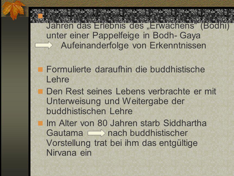 Laut Überlieferung erlangte er im Alter von 35 Jahren das Erlebnis des Erwachens (Bodhi) unter einer Pappelfeige in Bodh- Gaya Aufeinanderfolge von Er