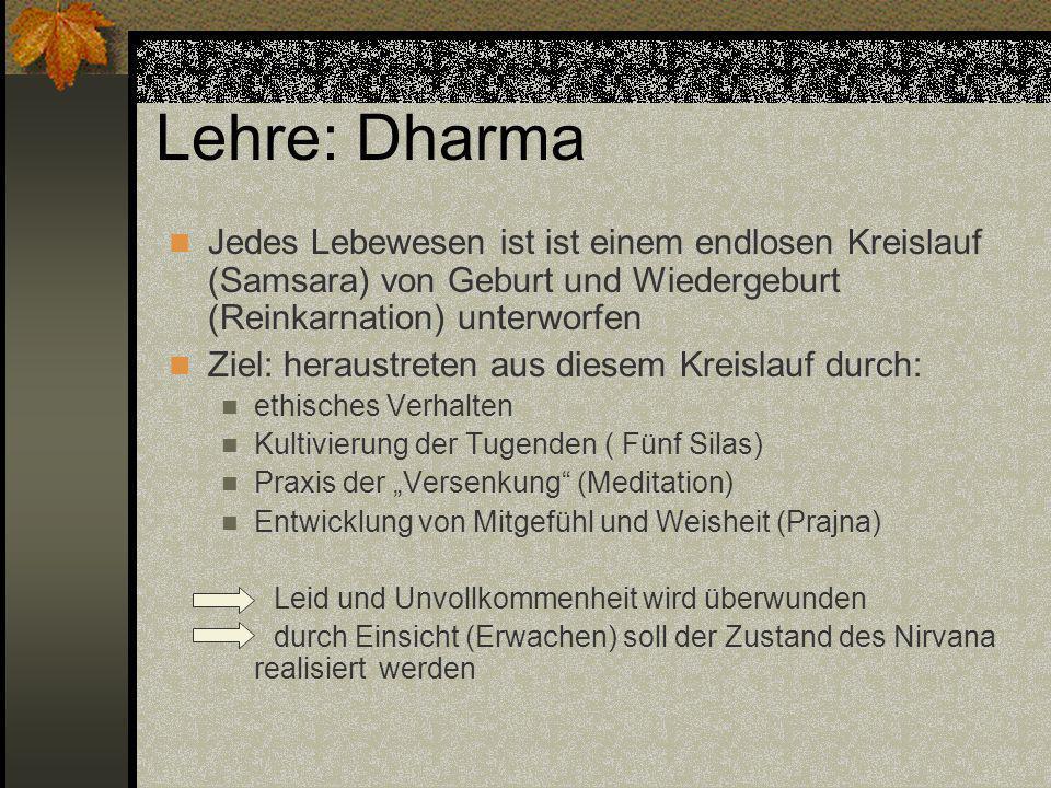 Lehre: Dharma Jedes Lebewesen ist ist einem endlosen Kreislauf (Samsara) von Geburt und Wiedergeburt (Reinkarnation) unterworfen Ziel: heraustreten au
