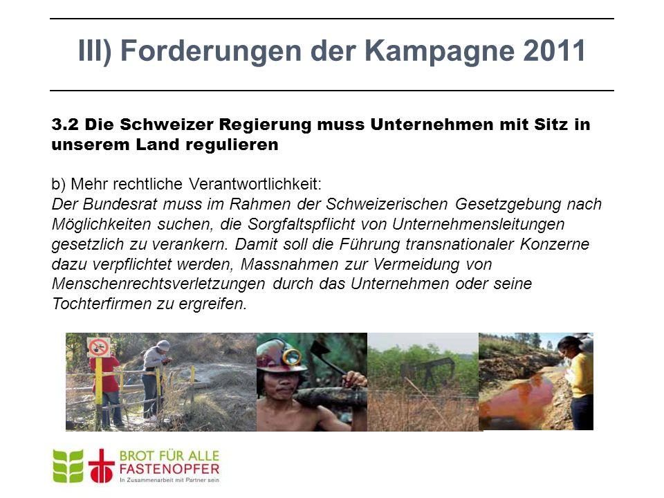 3.2 Die Schweizer Regierung muss Unternehmen mit Sitz in unserem Land regulieren b) Mehr rechtliche Verantwortlichkeit: Der Bundesrat muss im Rahmen d