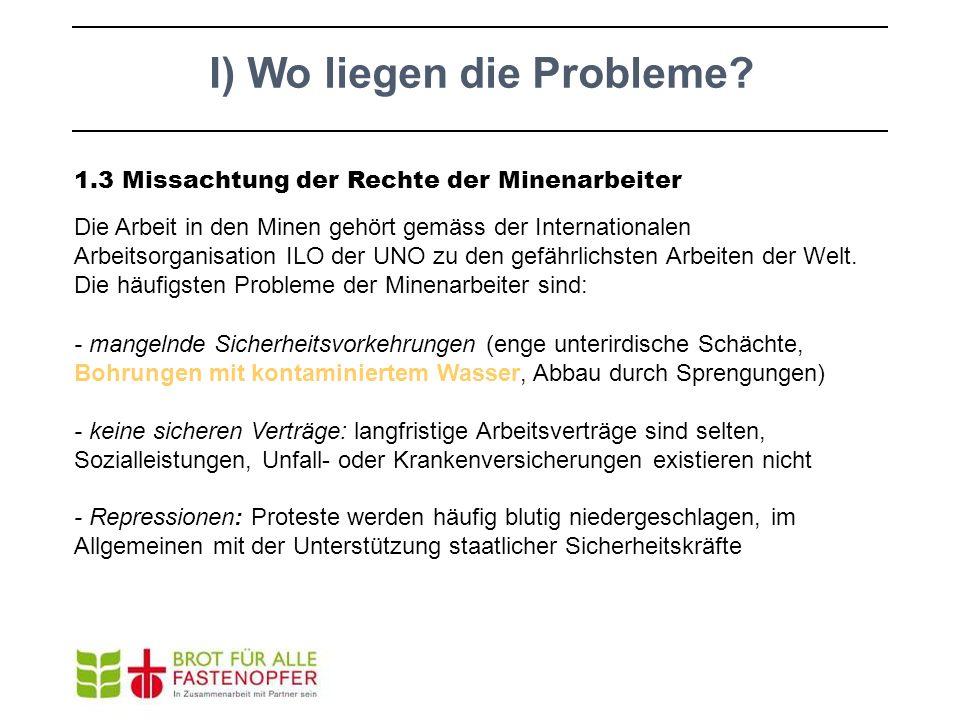 I) Wo liegen die Probleme? 1.3 Missachtung der Rechte der Minenarbeiter Die Arbeit in den Minen gehört gemäss der Internationalen Arbeitsorganisation