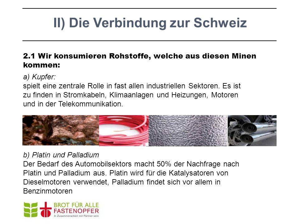 II) Die Verbindung zur Schweiz 2.1 Wir konsumieren Rohstoffe, welche aus diesen Minen kommen: a) Kupfer: spielt eine zentrale Rolle in fast allen indu