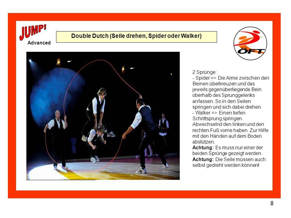 9 Choreographie Advanced Selbst eine Choreographie zusammenstellen, in der alle Single Rope Sprünge vorkommen.