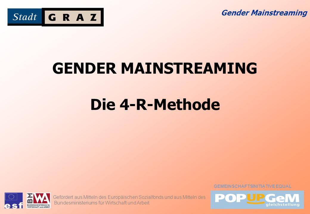 Gender Mainstreaming GENDER MAINSTREAMING Die 4-R-Methode Gefördert aus Mitteln des Europäischen Sozialfonds und aus Mitteln des Bundesministeriums fü