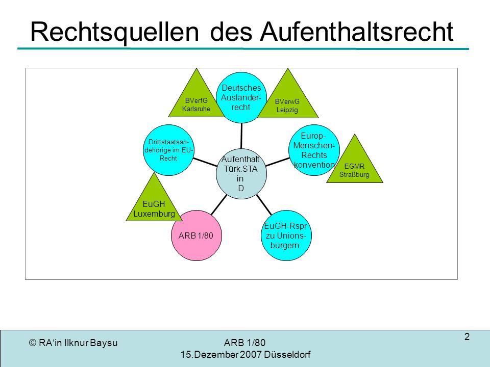 © RAin Ilknur BaysuARB 1/80 15.Dezember 2007 Düsseldorf 3 Regelungsbereich des ARB 1/80 Einreise (Stand-Still: Art.41 Zusatzpr) Verlängerung der Aufenthaltserlaubnis (Art.6,7) Beendigung des Aufenthalts (Art.14,13) Gleichberechtigter Zugang zur Ausbildung(Art.9) Gleichberechtigung hinsichtlich der Arbeitsbedingungen (Art.10) Keine neuen Arbeitsmarktzugangbeschränkungen (Art.13)