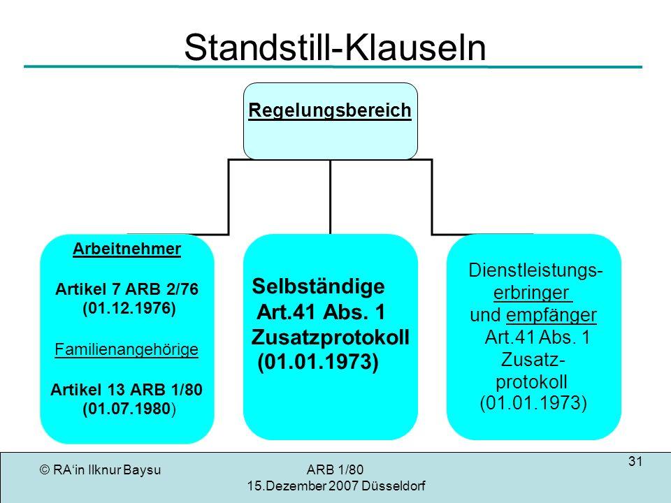 © RAin Ilknur BaysuARB 1/80 15.Dezember 2007 Düsseldorf 31 Standstill-Klauseln Regelungsbereich Arbeitnehmer Artikel 7 ARB 2/76 (01.12.1976) Familienangehörige Artikel 13 ARB 1/80 (01.07.1980) Selbständige Art.41 Abs.