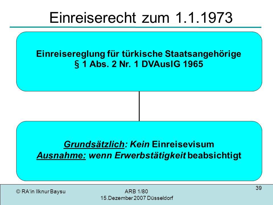 © RAin Ilknur BaysuARB 1/80 15.Dezember 2007 Düsseldorf 39 Einreiserecht zum 1.1.1973 Grundsätzlich: Kein Einreisevisum Ausnahme: wenn Erwerbstätigkeit beabsichtigt Einreisereglung für türkische Staatsangehörige § 1 Abs.
