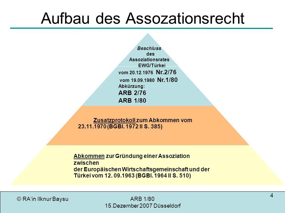 © RAin Ilknur BaysuARB 1/80 15.Dezember 2007 Düsseldorf 5 Ziel des Assozierungsabkommens Art.
