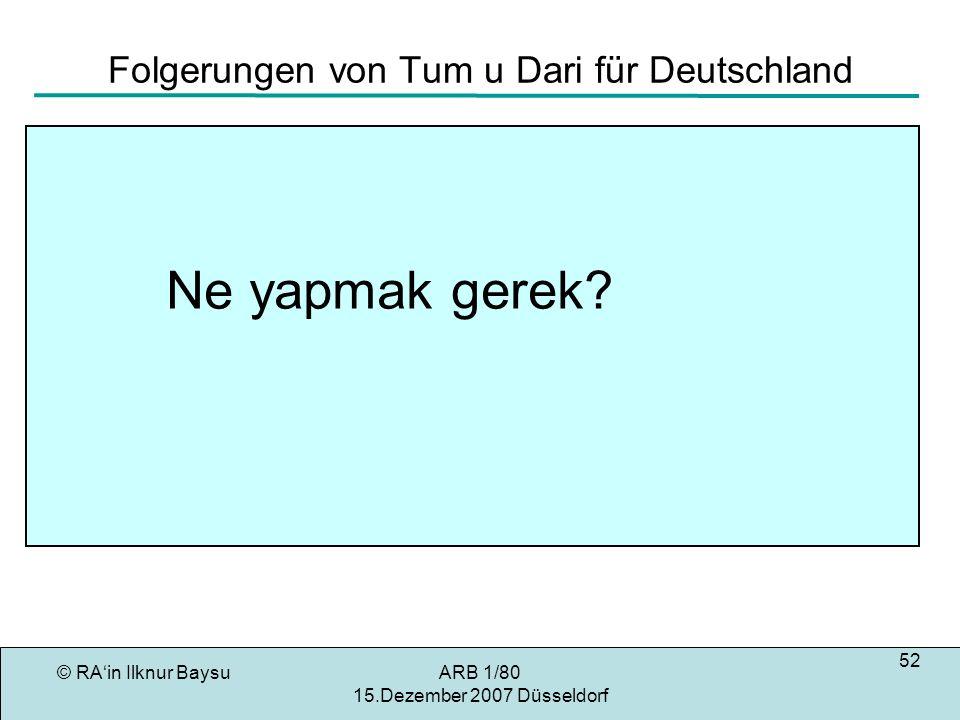 © RAin Ilknur BaysuARB 1/80 15.Dezember 2007 Düsseldorf 52 Folgerungen von Tum u Dari für Deutschland Ne yapmak gerek?