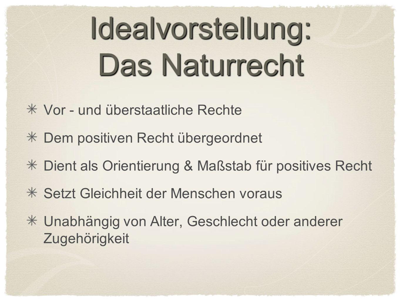 Idealvorstellung: Das Naturrecht Vor - und überstaatliche Rechte Dem positiven Recht übergeordnet Dient als Orientierung & Maßstab für positives Recht