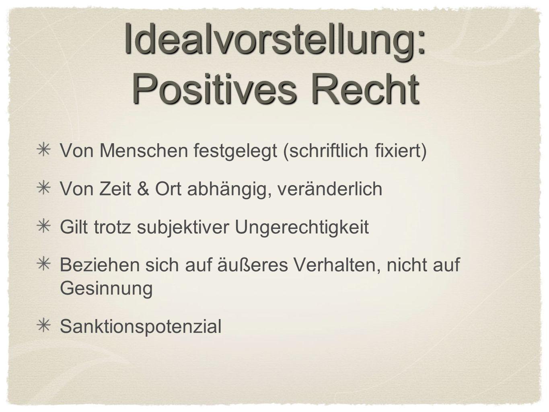 Idealvorstellung: Positives Recht Von Menschen festgelegt (schriftlich fixiert) Von Zeit & Ort abhängig, veränderlich Gilt trotz subjektiver Ungerecht
