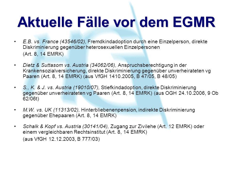 Aktuelle Fälle vor dem EGMR E.B. vs.