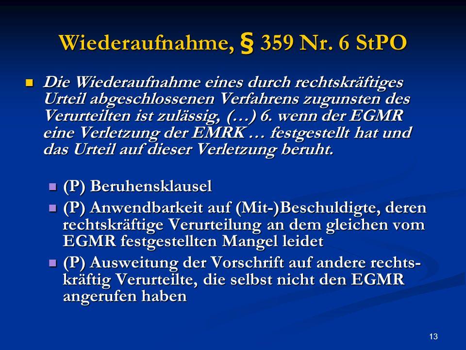 13 Wiederaufnahme, § 359 Nr.