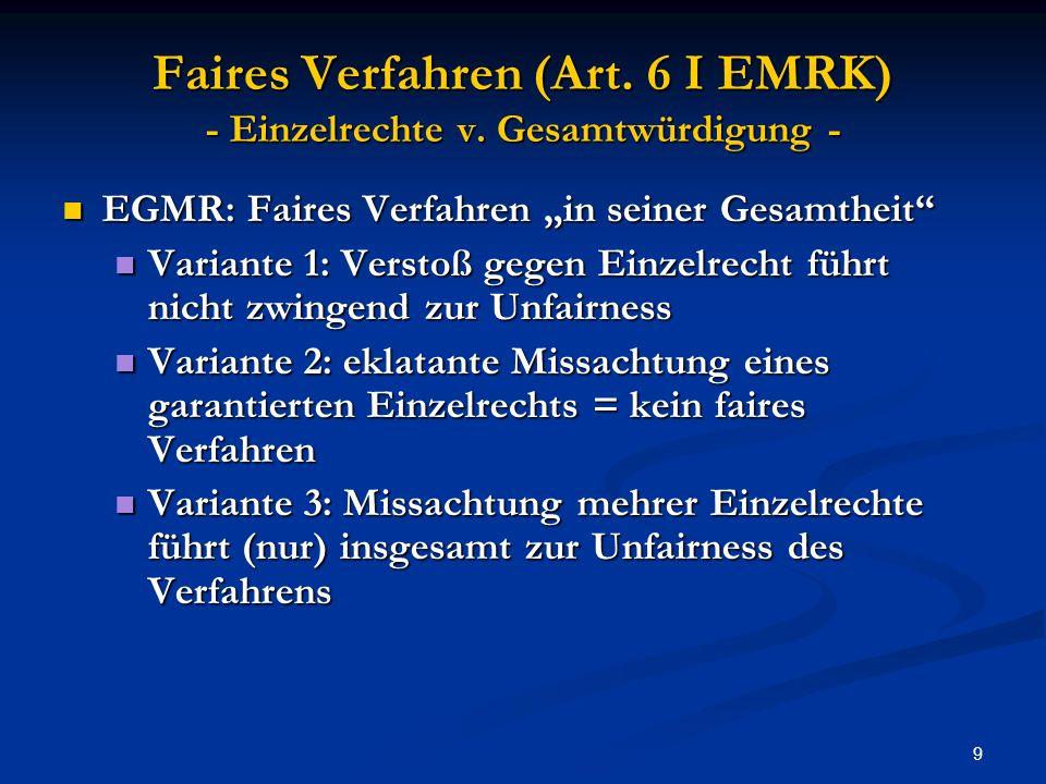 9 Faires Verfahren (Art.6 I EMRK) - Einzelrechte v.
