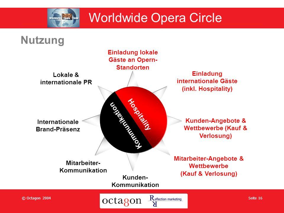 © Octagon 2004Seite 16 Nutzung Einladung lokale Gäste an Opern- Standorten Einladung internationale Gäste (inkl.