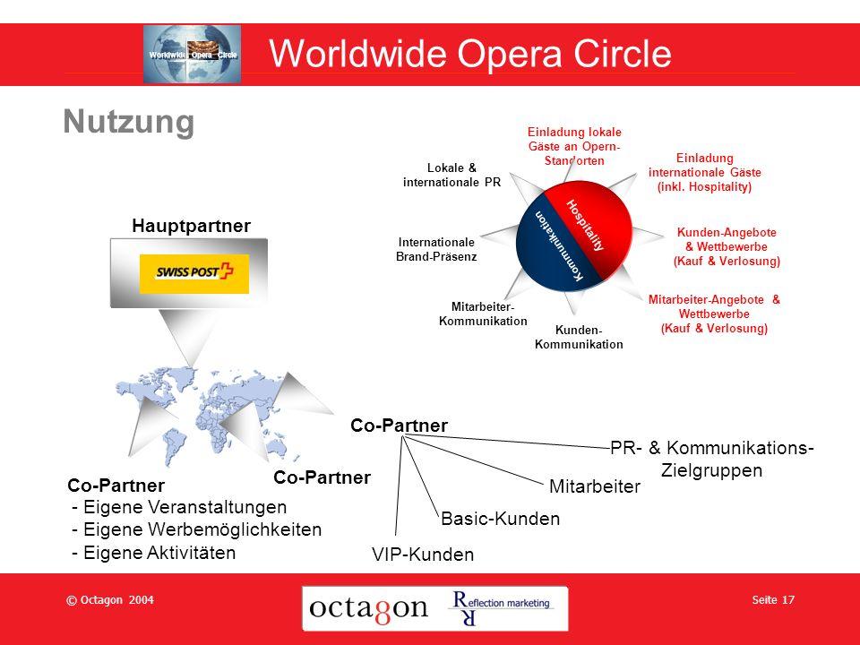© Octagon 2004Seite 17 Nutzung Einladung lokale Gäste an Opern- Standorten Einladung internationale Gäste (inkl.