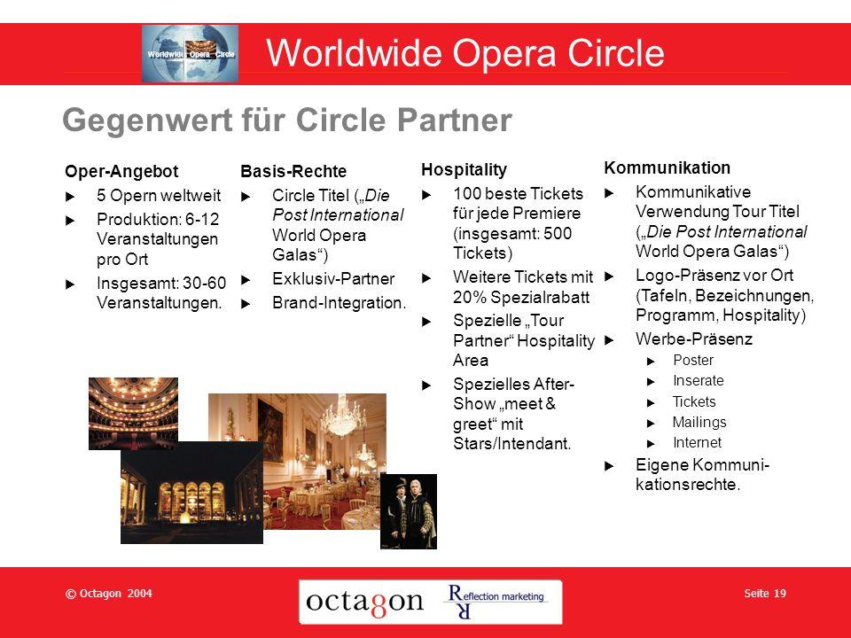 © Octagon 2004Seite 19 Gegenwert für Circle Partner Oper-Angebot 5 Opern weltweit Produktion: 6-12 Veranstaltungen pro Ort Insgesamt: 30-60 Veranstaltungen.