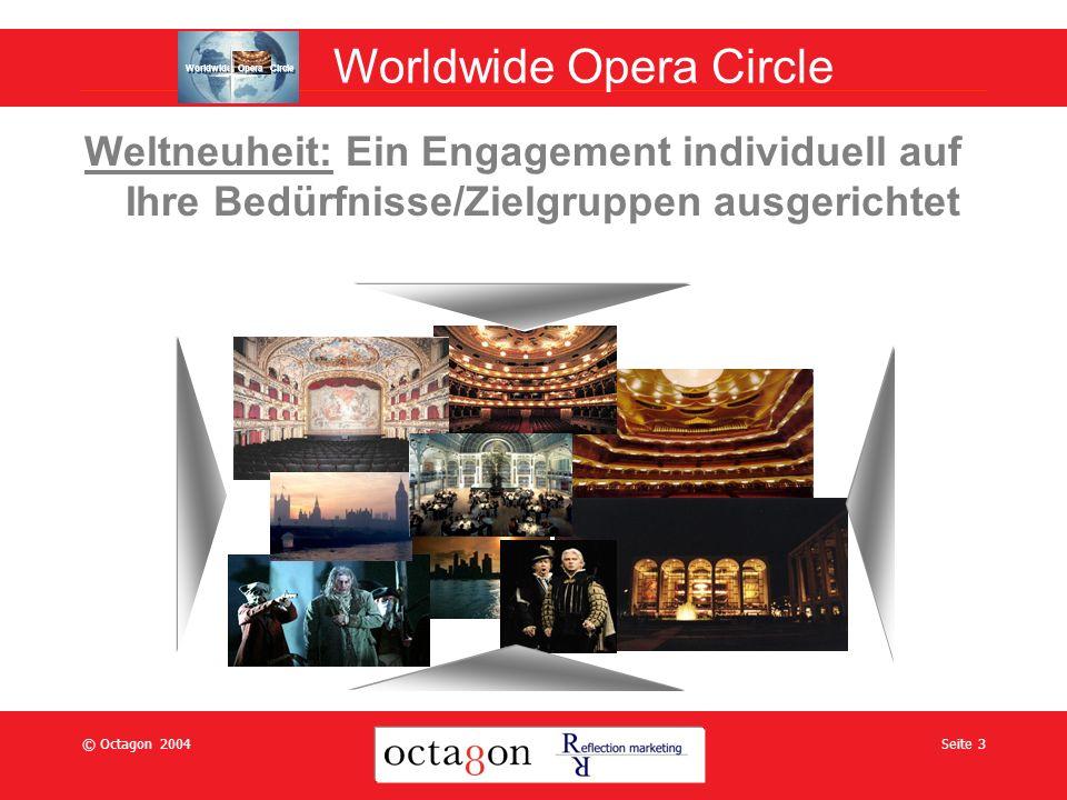 © Octagon 2004Seite 3 Weltneuheit: Ein Engagement individuell auf Ihre Bedürfnisse/Zielgruppen ausgerichtet Worldwide Opera Circle