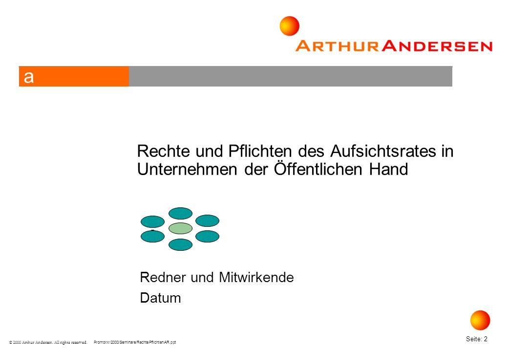 Promorxr/2000/Seminare/RechtePflichtenAR.ppt Seite: 33 © 2000 Arthur Andersen.