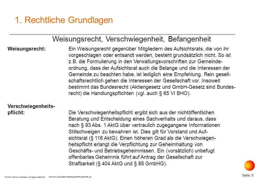 Promorxr/2000/Seminare/RechtePflichtenAR.ppt Seite: 10 © 2000 Arthur Andersen.