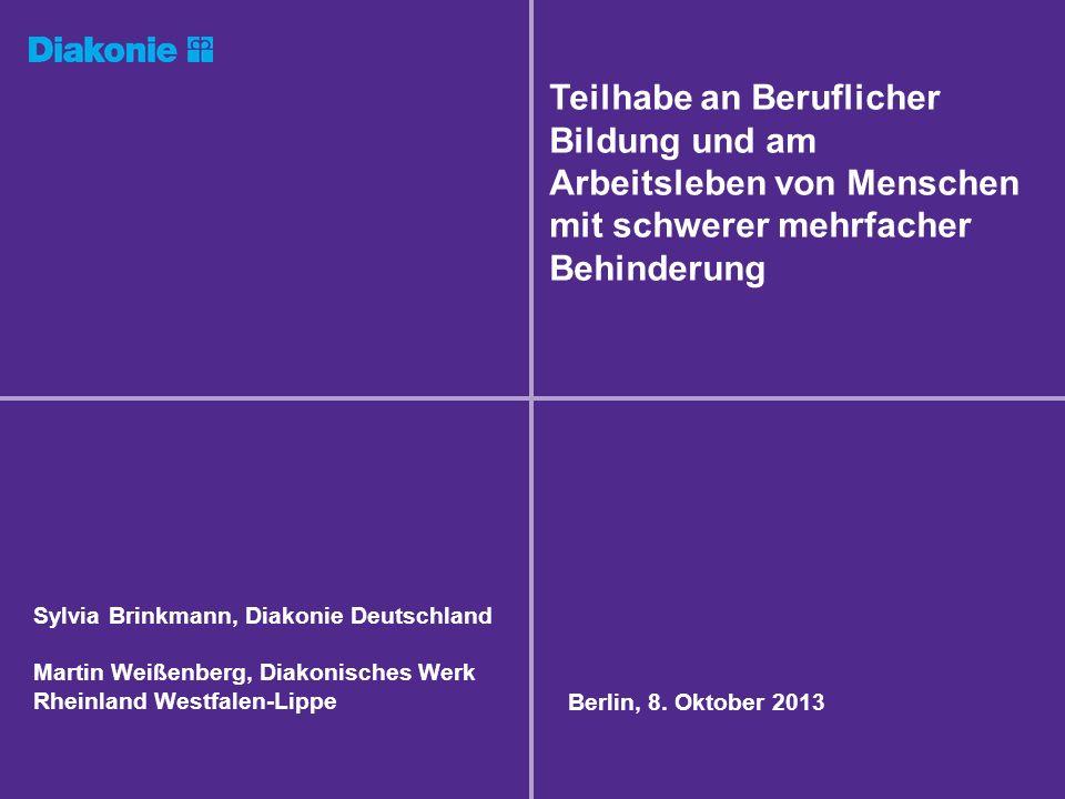 Sylvia Brinkmann, Diakonie Deutschland Martin Weißenberg, Diakonisches Werk Rheinland Westfalen-Lippe Berlin, 8. Oktober 2013 Teilhabe an Beruflicher