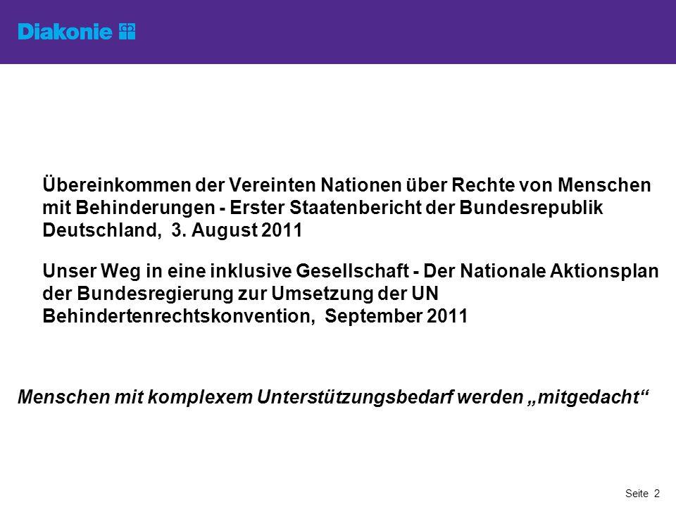 Übereinkommen der Vereinten Nationen über Rechte von Menschen mit Behinderungen - Erster Staatenbericht der Bundesrepublik Deutschland, 3. August 2011
