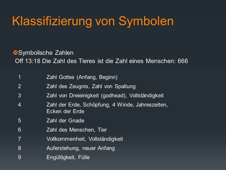 Klassifizierung von Symbolen Symbolische Zahlen Off 13:18 Die Zahl des Tieres ist die Zahl eines Menschen: 666 1Zahl Gottes (Anfang, Beginn) 2Zahl des