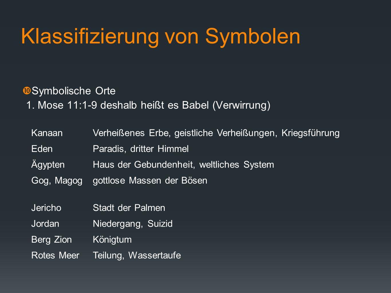 Klassifizierung von Symbolen Symbolische Orte 1. Mose 11:1-9 deshalb heißt es Babel (Verwirrung) KanaanVerheißenes Erbe, geistliche Verheißungen, Krie