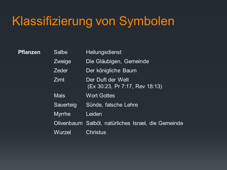 Klassifizierung von Symbolen PflanzenSalbeHeilungsdienst ZweigeDie Gläubigen, Gemeinde ZederDer königliche Baum ZimtDer Duft der Welt (Ex 30:23, Pr 7: