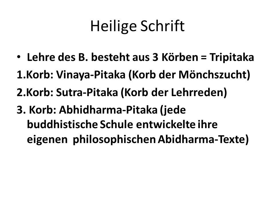 Heilige Schrift Lehre des B. besteht aus 3 Körben = Tripitaka 1.Korb: Vinaya-Pitaka (Korb der Mönchszucht) 2.Korb: Sutra-Pitaka (Korb der Lehrreden) 3