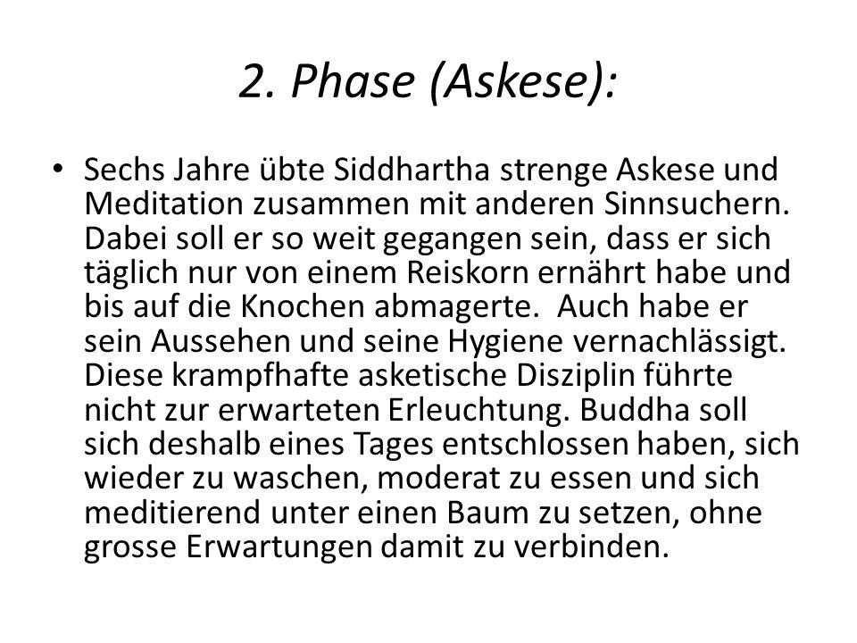2. Phase (Askese): Sechs Jahre übte Siddhartha strenge Askese und Meditation zusammen mit anderen Sinnsuchern. Dabei soll er so weit gegangen sein, da